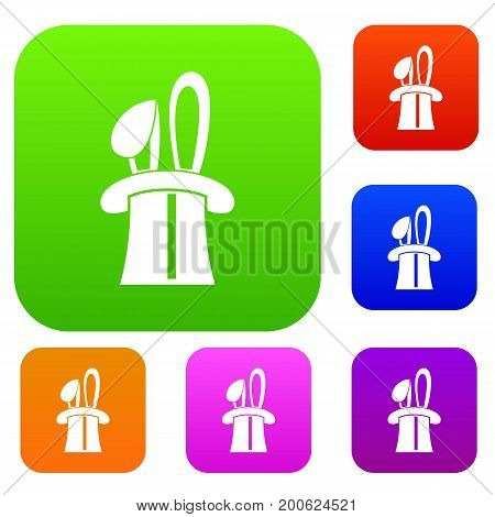 Rabbit appearing from a top magic hat set icon in different colors isolated vector illustration. Premium collection