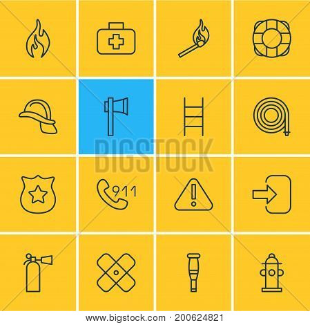 Editable Pack Of Ax, Medical Case, Stairs And Other Elements.  Vector Illustration Of 16 Necessity Icons.