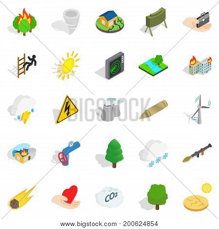 Ignitable icons set. Isometric set of 25 ignitable vector icons for web isolated on white background