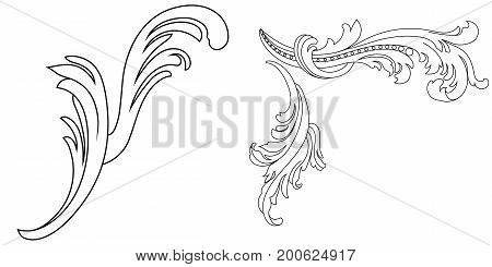 Vintage leaf, baroque leaf, scroll leaf, engraving leaf, border leaf, floral ornament, retro pattern, antique pattern, style acanthus pattern, foliage pattern, swirl pattern decorative pattern, filigree pattern. vector