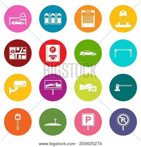 Car parking icons many colors set isolated on white for digital marketing