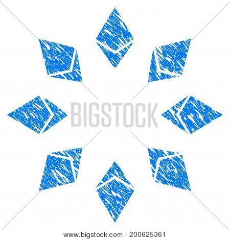 Grunge Ethereum Radial rubber seal stamp watermark. Icon symbol with grunge design and dirty texture. Unclean vector blue sticker.