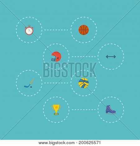 Flat Icons Trophy, Puck, Volleyball And Other Vector Elements