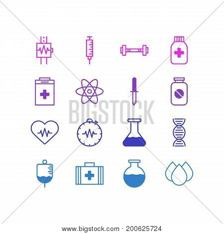 Editable Pack Of Heartbeat, Medical Bag, Trickle And Other Elements.  Vector Illustration Of 16 Medicine Icons.