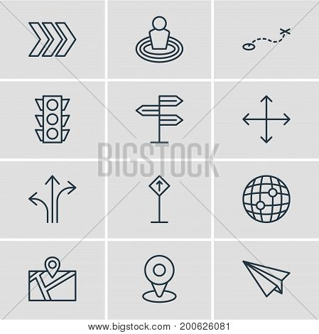 Editable Pack Of World, Location, Path And Other Elements.  Vector Illustration Of 12 Location Icons.