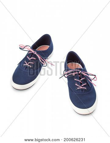 Blue sport shoes isolated on white background