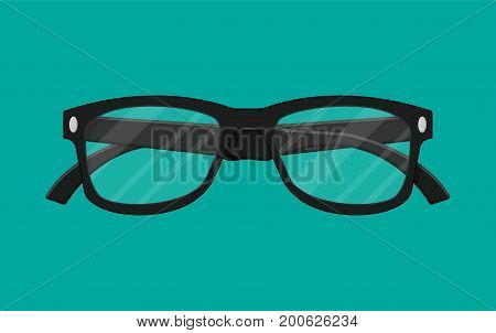 Plastic framed glasses isolated on green. Retro style eyewear. Reading eye glasses in flat style. Accessory for eye protection. Vector illustration