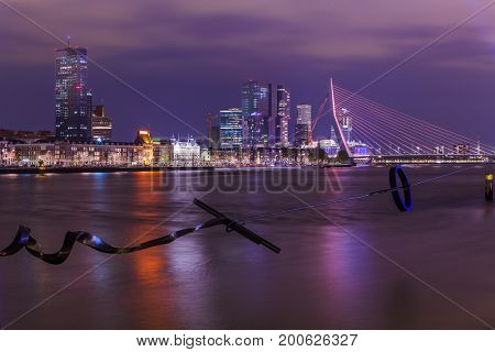 Rotterdam cityscape and modern sculpture - Netherlands - architecture background