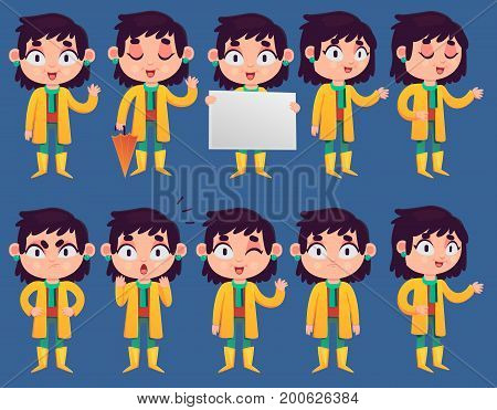 Vector set of illustrations featuring a young girl wearing rain garment in many poses.