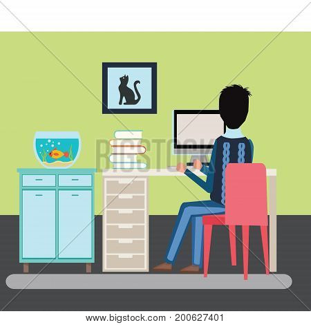 illustration man sitting in the room at a desk and working on the computer Back view. Freelancer man Sitting Desk in interior in flat style Working Table and Aquarium on shelf isolated background.