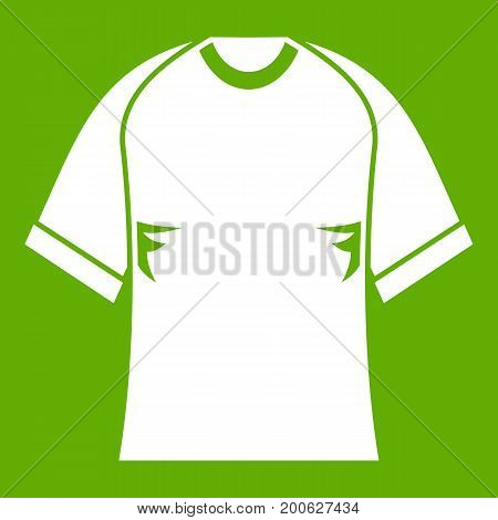 Raglan tshirt icon white isolated on green background. Vector illustration