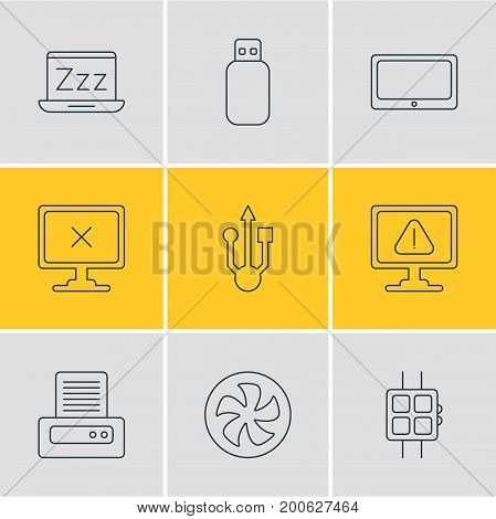 Editable Pack Of Access Denied, Modern Watch, Flash Drive And Other Elements.  Vector Illustration Of 9 Computer Icons.