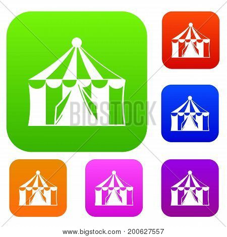 Circus tent set icon in different colors isolated vector illustration. Premium collection