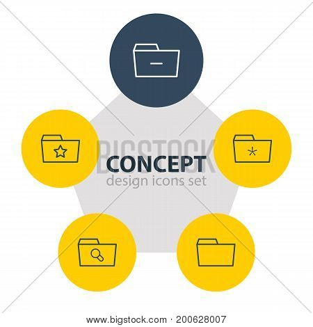 Editable Pack Of Document Case, Pinned, Minus And Other Elements.  Vector Illustration Of 5 Document Icons.