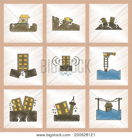 assembly flat shading style icon of disaster earthquake and flood