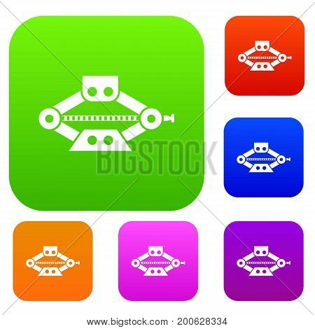 Red scissor car jack set icon in different colors isolated vector illustration. Premium collection