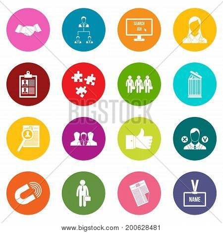 Human resource management icons many colors set isolated on white for digital marketing