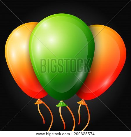 Realistic green, orange balloons with ribbons isolated on black background. Vector illustration of shiny colorful glossy balloons