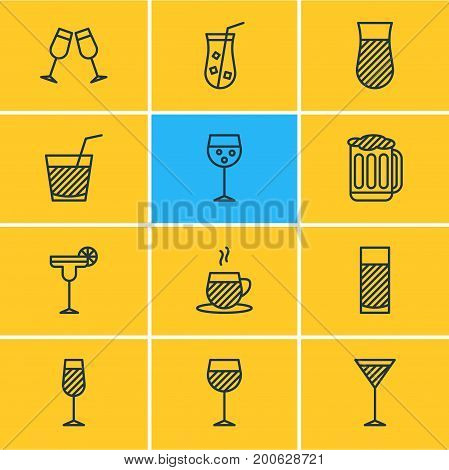 Editable Pack Of Tea Cup, Beverage, Goblet And Other Elements.  Vector Illustration Of 12 Beverage Icons.