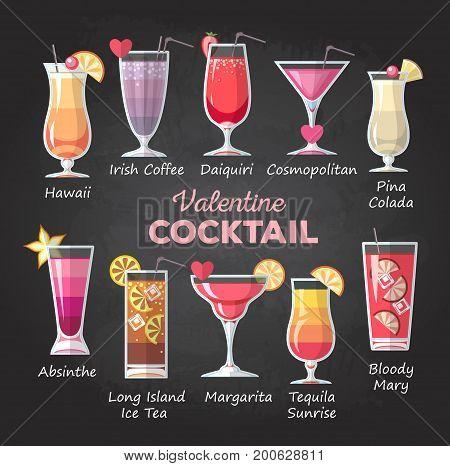 Flat style Valentine cocktail menu on chalk drawing background