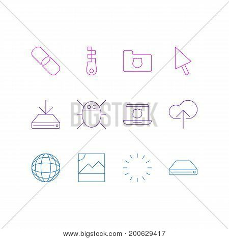 Editable Pack Of Cloud Download, World, Waiting And Other Elements.  Vector Illustration Of 12 Network Icons.