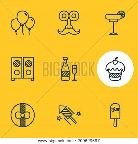 Editable Pack Of Speaker, Firecracker, Gift And Other Elements.  Vector Illustration Of 9 Banquet Icons.