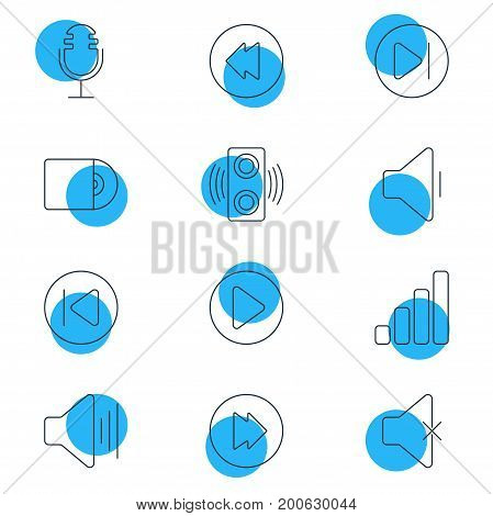 Editable Pack Of Decrease Sound, Subsequent, Advanced And Other Elements.  Vector Illustration Of 12 Music Icons.