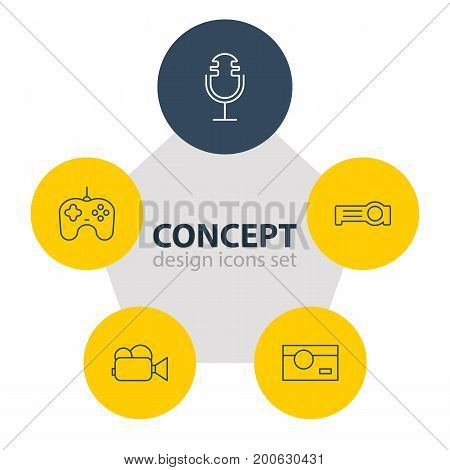 Editable Pack Of Photography, Floodlight, Joypad And Other Elements.  Vector Illustration Of 5 Hardware Icons.