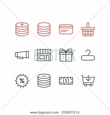 Editable Pack Of Payment, Pottle, Buy And Other Elements.  Vector Illustration Of 12 Trading Icons.