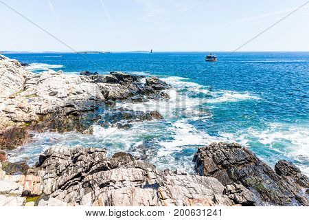 Cliff Rocks By Trail By Portland Head Lighthouse In Fort Williams Park In Cape, Elizabeth Maine Duri