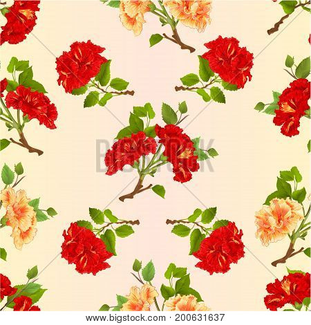 Seamless texture branches yellow and red hibiscus tropical flowers vintage vector editable botanical illustration hand draw