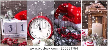 Collage from New year photos. Decorative hat clock lantern with candle calendar berries and branches fur tree on aged wooden background. Holiday site header.
