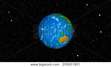 Abstract background with earth and moon. Space backdrop. 3d rendering