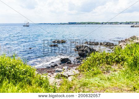 Cityscape Or Skyline Of Kennebunkport Town Beach With Ship And Coast