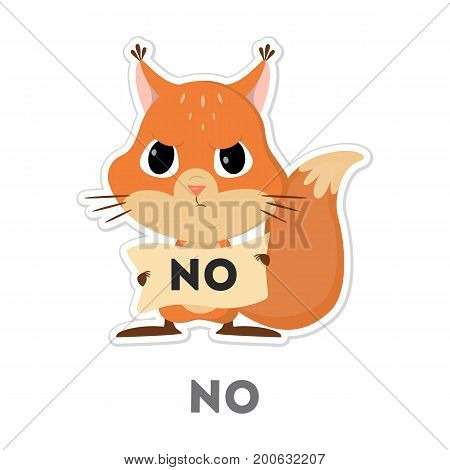 Isolated refusing squirrel on white background. Funny cartoon emoji.