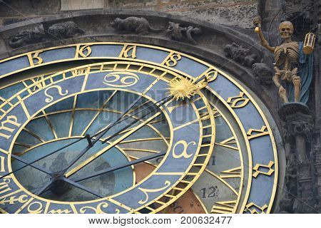 Astronomical clock on town hall in the old town square in Prague closeup