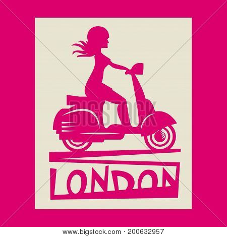 Scooter Girl silhouette with text London vector illustration