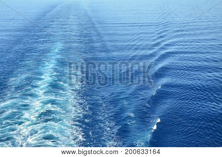 Wake of the cruise ship at Caribbean sea