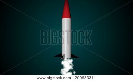 Abstract background with rocket launch. 3d rendering