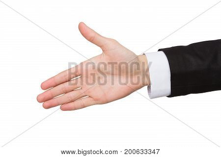 Male hand ready for handshake isolated on white background. Man inviting by open palm, greeting concept