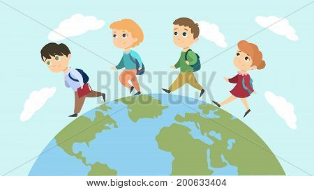 School children walk on the planet with backpacks.