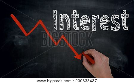 Interest And Graph Is Written By Hand On Blackboard
