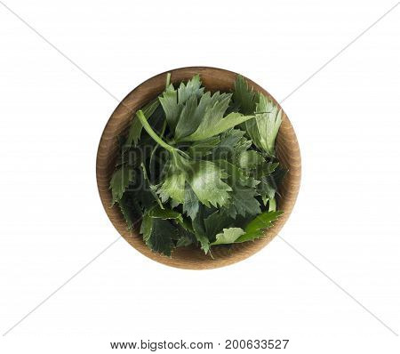 Fresh celery leaves in wooden bowl isolated on white background. Top view. Celery with copy space for text.