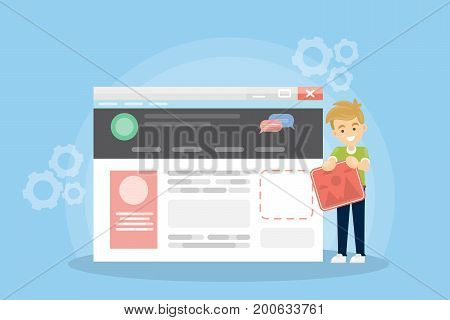 Web site building. Man works with online web page. Idea of interface improvement.