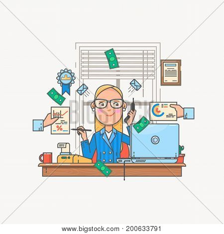 Businesswoman working and analyzing financial statistics. Data analysis concept. Vector illustration of color icon in flat line style. Linear cute and happy girl.