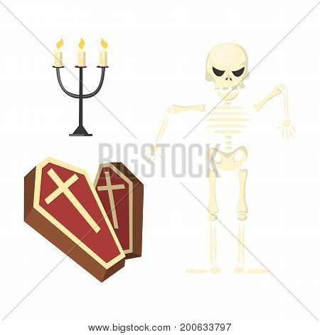Skeleton with coffin and candles on white background. Halloween concept.