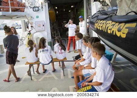 Burgas, Bulgaria,  5th August 2017 - Greenpeace Rainbow Warrior in Port to promote their environmental awareness campaign, NO PLASTIC, a  campaign to reduce plastic waste in the Oceans and Seas.