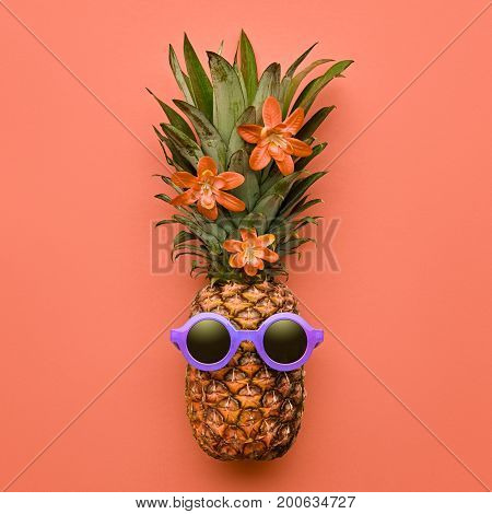 Fashion Hipster Pineapple Fruit. Bright Summer Color, Accessories. Tropical pineapple with Sunglasses. Hot Summer Beach Vibes. Creative Fun Art Style. Minimal Design. Summer party Mood, tropic flower