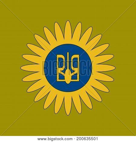 flat icon on stylish background emblem of Ukraine
