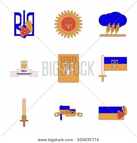 assembly of flat icons Ukraine's Independence Day